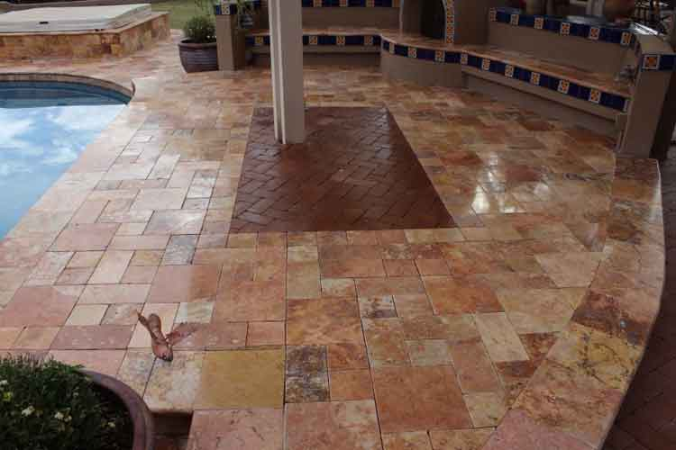 Ordinaire Travertine Patios Pavers Pooldeck 4 1 | Bakeru0027s Travertine Power Clean,  Polishing, Sealing #1 In Scottsdale U0026 Paradise Valley