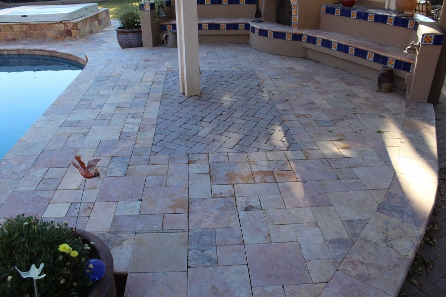 Genial Travertine Patios Pavers Pooldeck Before | Bakeru0027s Travertine Power Clean,  Polishing, Sealing #1 In Scottsdale U0026 Paradise Valley
