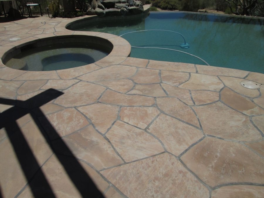After: Flagstone patio stripped of coating, cleaned, sealed with proper sealers | Flagstone | Interiors | Photo Gallery | Baker's Travertine Power Clean