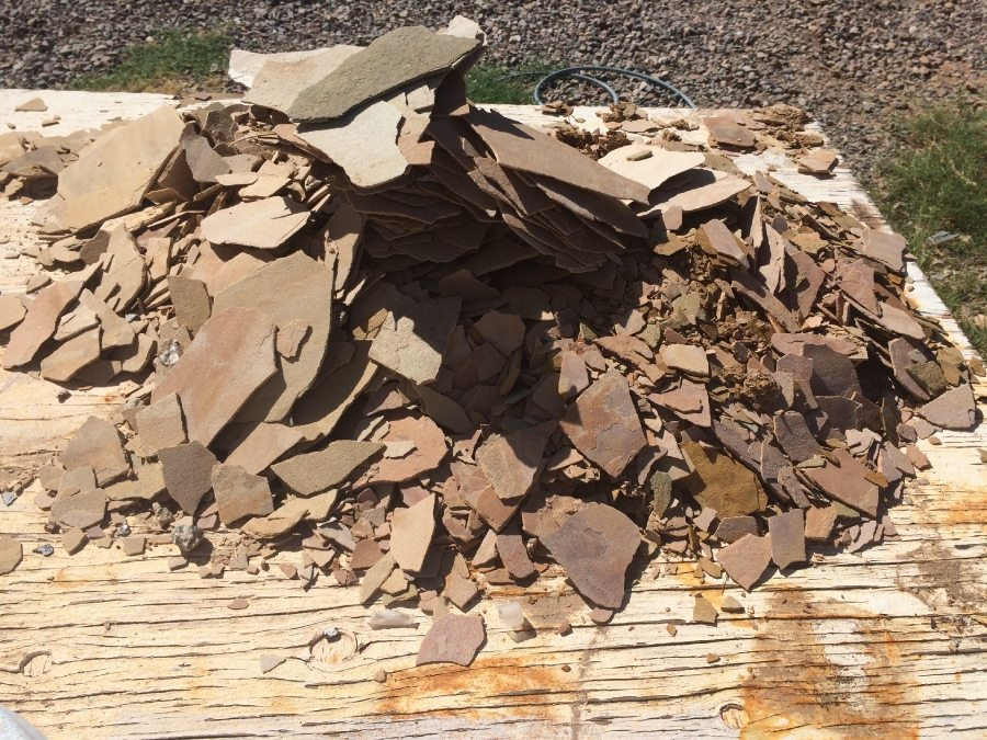 Pile of flagstone rubble | Flagstone Exterior | Photo Gallery | Baker's Travertine Power Clean