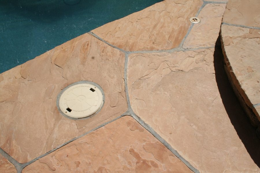 Flagstone repair completed | Flagstone Exterior | Photo Gallery | Baker's Travertine Power Clean