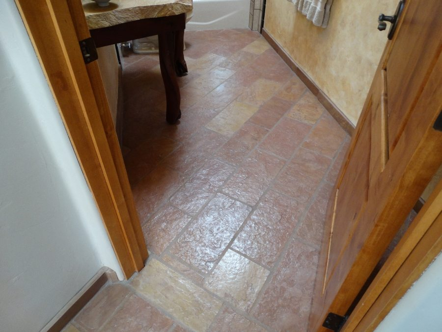 After: Flagstone bath entry | Flagstone | Interiors | Photo Gallery | Baker's Travertine Power Clean