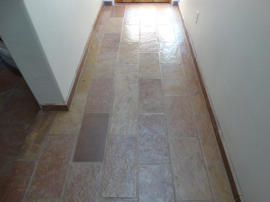 After: Flagstone hallway cleaned & sealed | Flagstone | Interiors | Photo Gallery | Baker's Travertine Power Clean