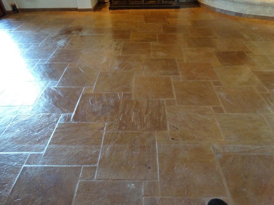 After: Flagstone cleaned and sealed | Flagstone | Interiors | Photo Gallery | Baker's Travertine Power Clean