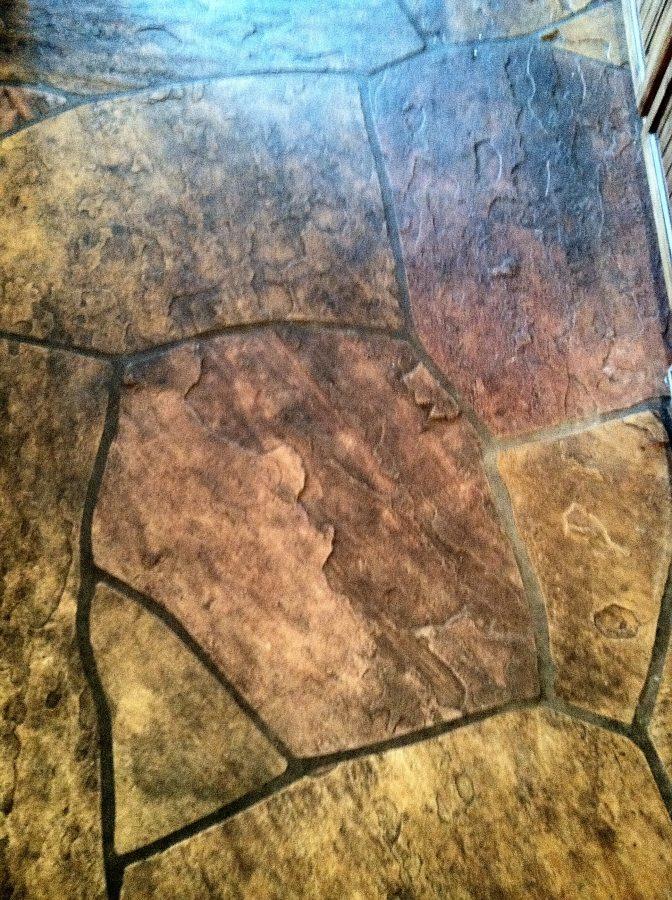 Before: Grimy flagstone kitchen floor | Flagstone | Interiors | Photo Gallery | Baker's Travertine Power Clean