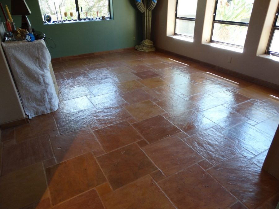 After: Flagstone family room | Flagstone | Interiors | Photo Gallery | Baker's Travertine Power Clean