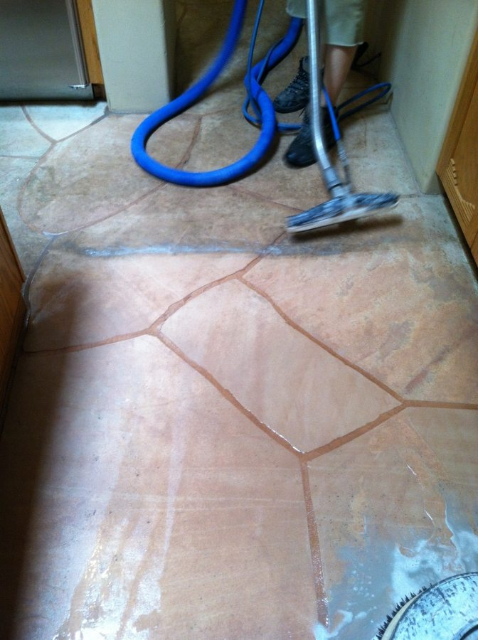 Flagstone cleaning process | Flagstone | Interiors | Photo Gallery | Baker's Travertine Power Clean