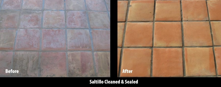Before/After: Saltillo patio scottsdale | Saltillo Exterior Patios | Photo Gallery | Baker's Travertine Power Clean