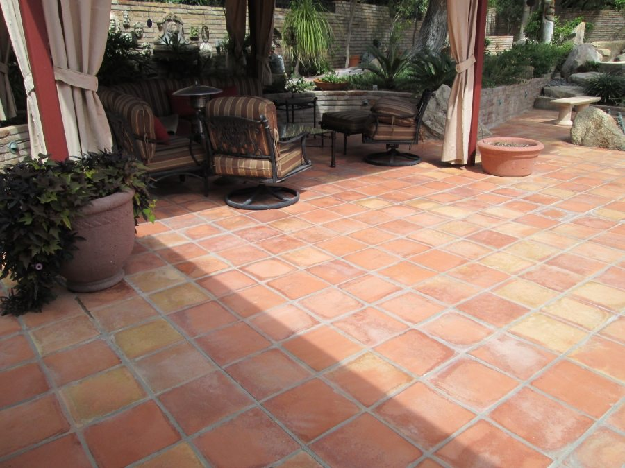 Before: Saltillo Tile Patio Paradise Valley | Saltillo Exterior Patios | Photo Gallery | Baker's Travertine Power Clean