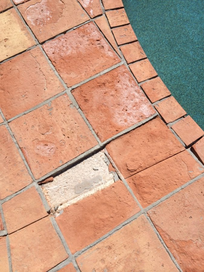Saltillo tile erosion around pool | Saltillo Exterior Patios | Photo Gallery | Baker's Travertine Power Clean