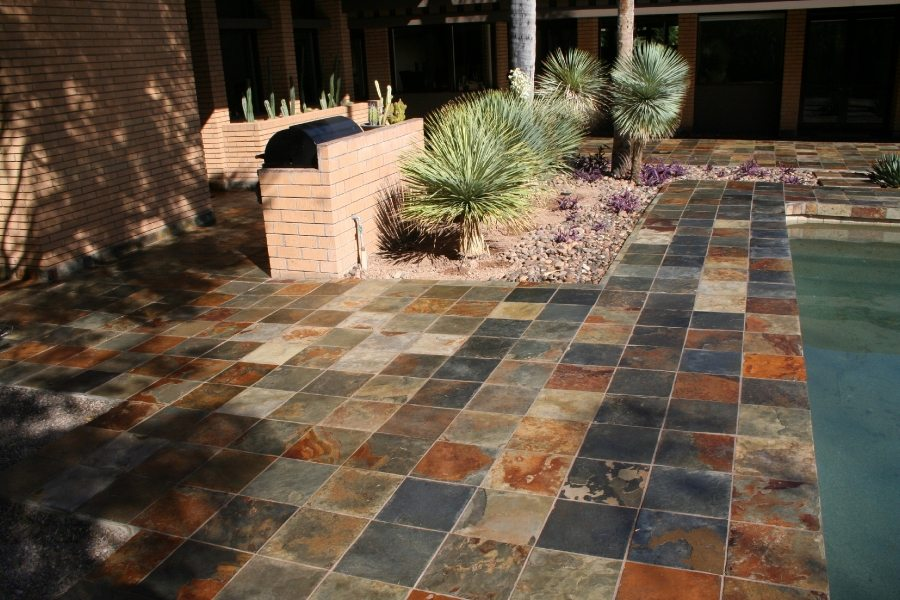Slate pool deck in Paradise Valley | Slate | Exterior Patios | Photo Gallery | Baker's Travertine Power Clean