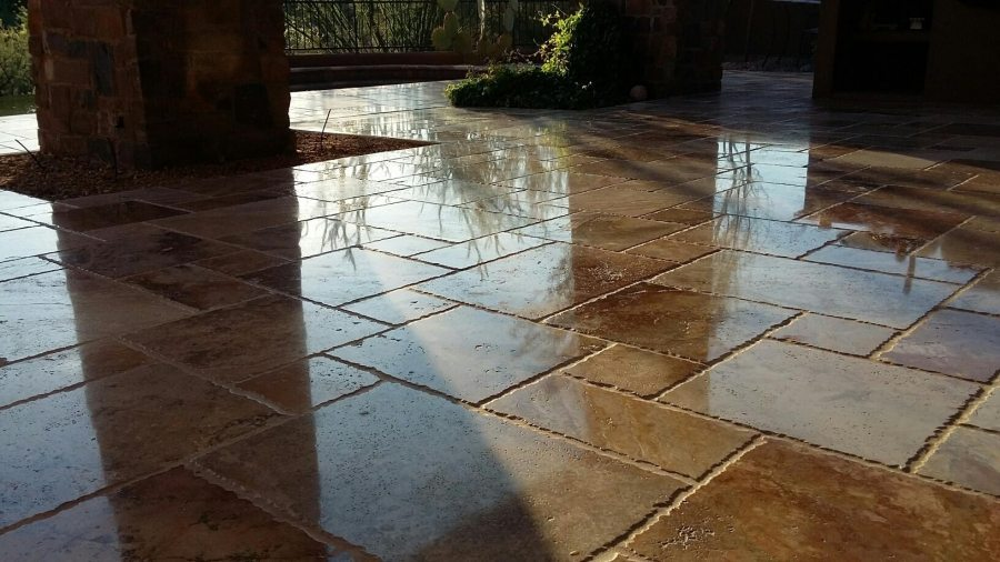 Travertine High Polish Patio | Patios, Pools & Decking | Travertine | Baker's Travertine Power Clean