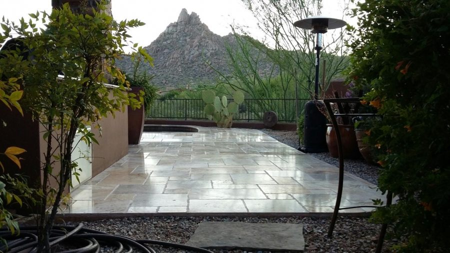Travertine patio Light Polish | Patios, Pools & Decking | Travertine | Baker's Travertine Power Clean