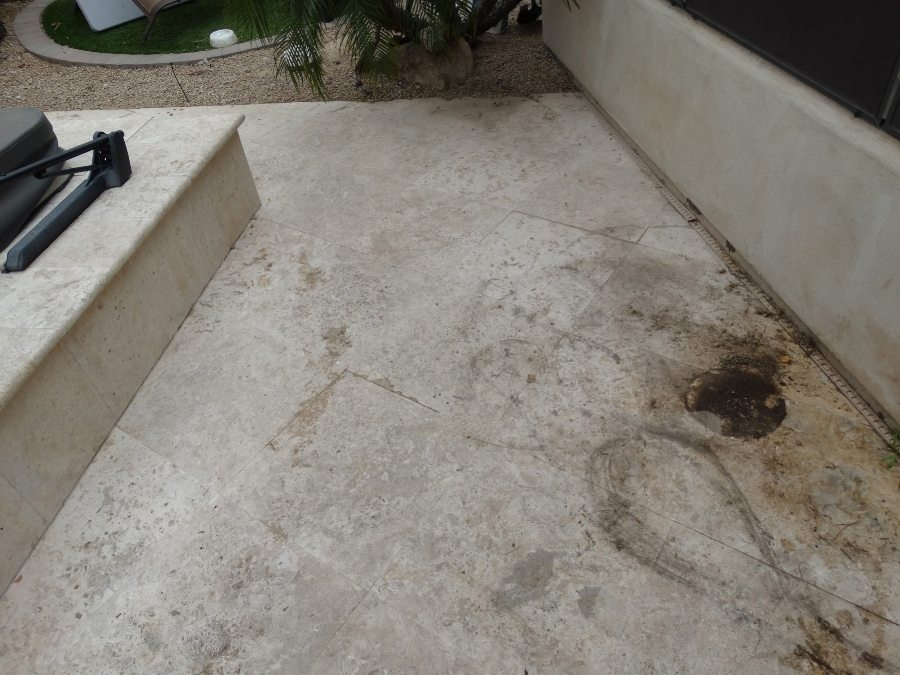 Before: Travertine shell stone paver patio | Patios, Pools & Decking | Travertine | Baker's Travertine Power Clean