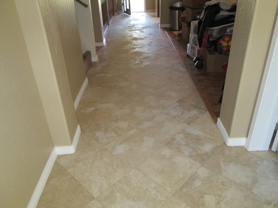 Before: Travertine | Satin Finish Gallery | Travertine | Baker's Travertine Power Clean