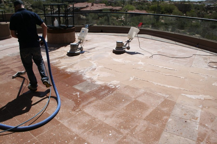 Cantera balcony during process | Cantera Exterior | Photo Gallery | Baker's Travertine Power Clean