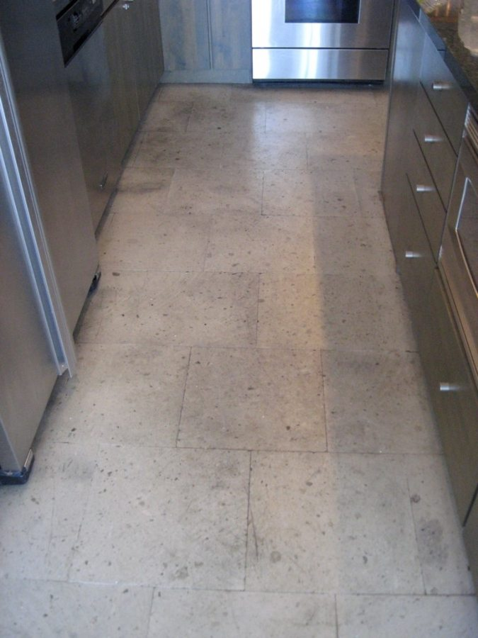 Before: Dirty Cantera kitchen | Cantera Interior | Photo Gallery | Baker's Travertine Power Clean