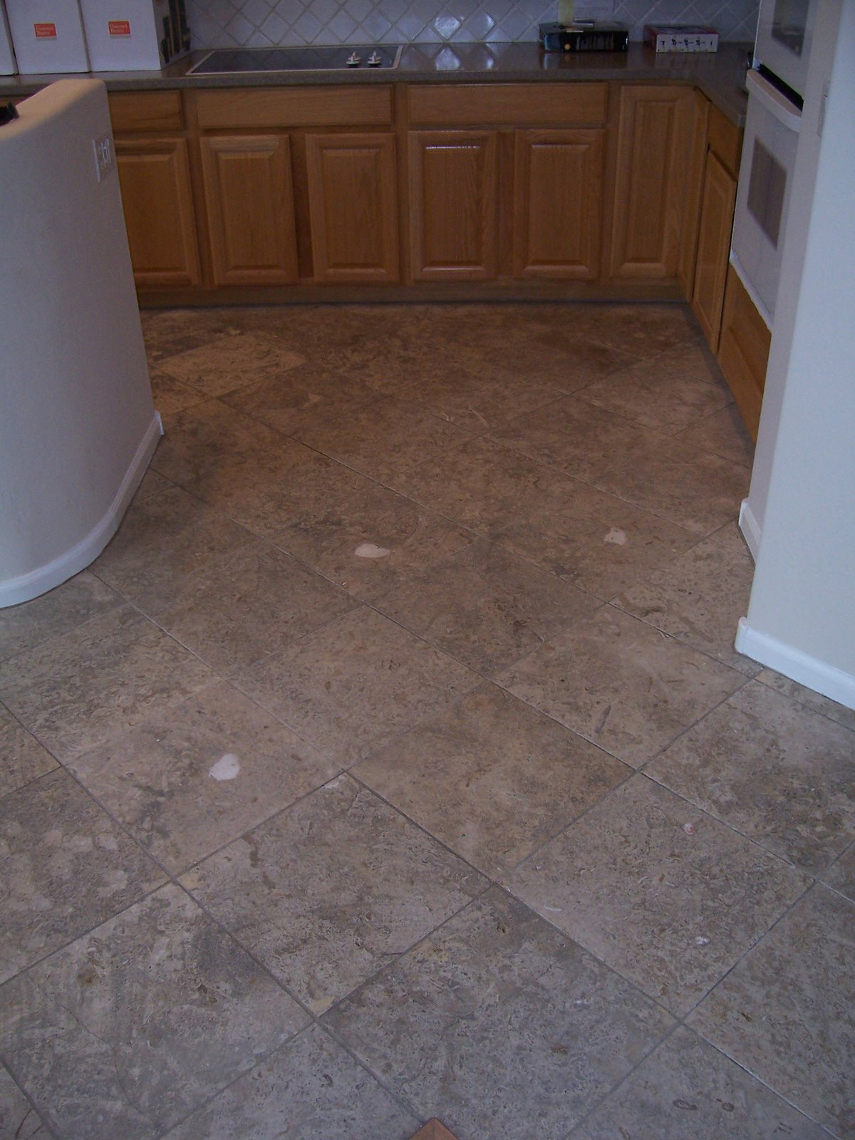 Before: Very dirty travertine | Cleaning Process | Photo Galleries | Baker's Travertine Power Clean