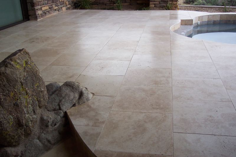 After: The patio is more level, no toe stubbers! | Grinding & Lippage | Travertine | Baker's Travertine Power Clean