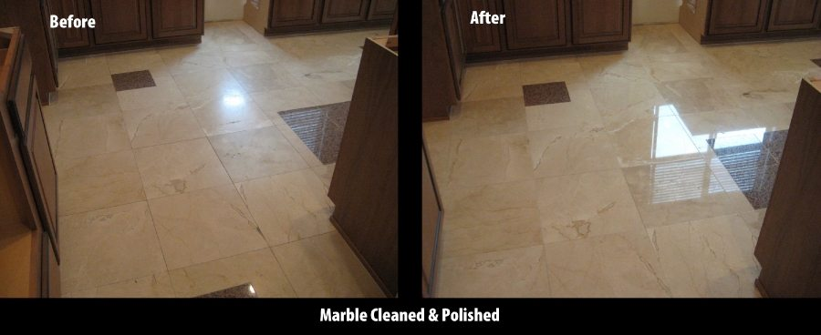 Before/After: Marble kitchen floor | Marble | Interiors | Photo Gallery | Baker's Travertine Power Clean