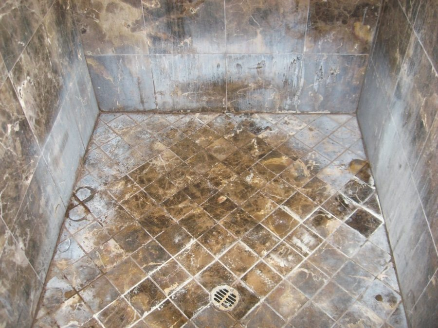 Before: Marble shower | Marble | Interiors | Photo Gallery | Baker's Travertine Power Clean