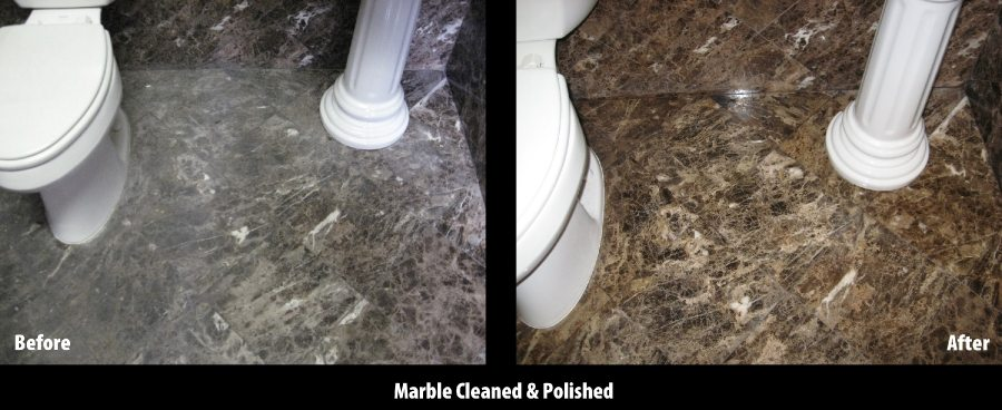 Before/After: Marble bath floor | Marble | Interiors | Photo Gallery | Baker's Travertine Power Clean