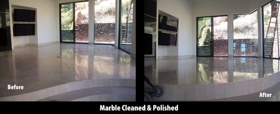 Before/After: Marble great room | Marble | Interiors | Photo Gallery | Baker's Travertine Power Clean