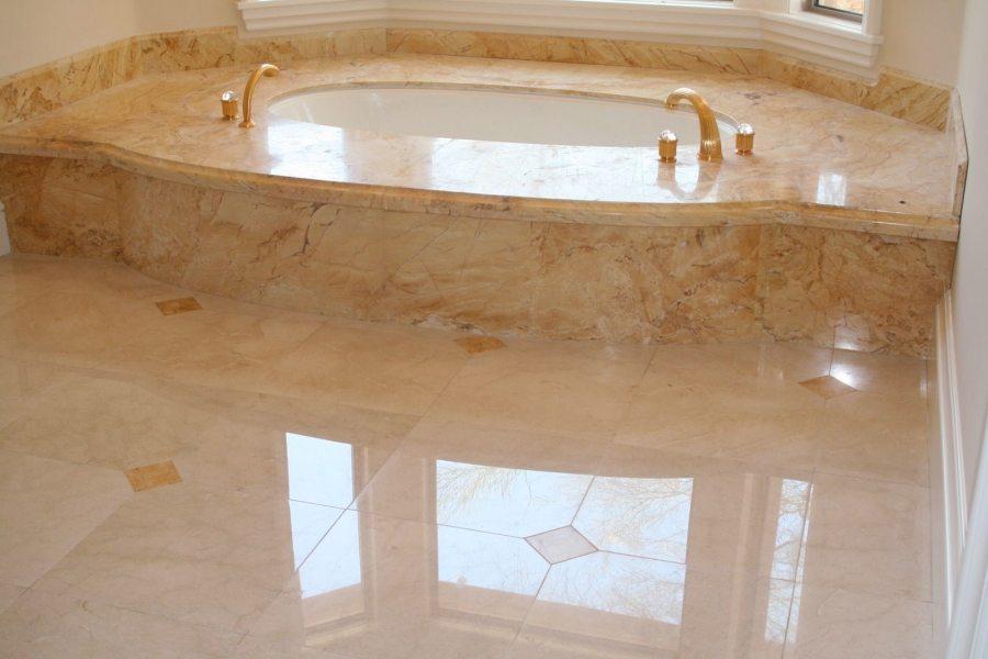 Marble bathroom floor & tub deck | Marble | Interiors | Photo Gallery | Baker's Travertine Power Clean