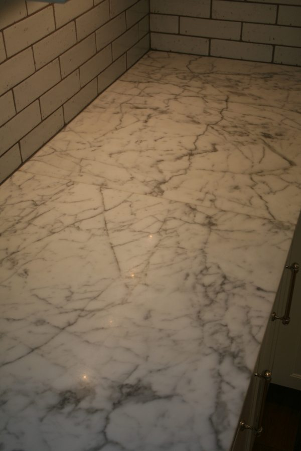 Before: Marble vanity/counter | Marble | Interiors | Photo Gallery | Baker's Travertine Power Clean
