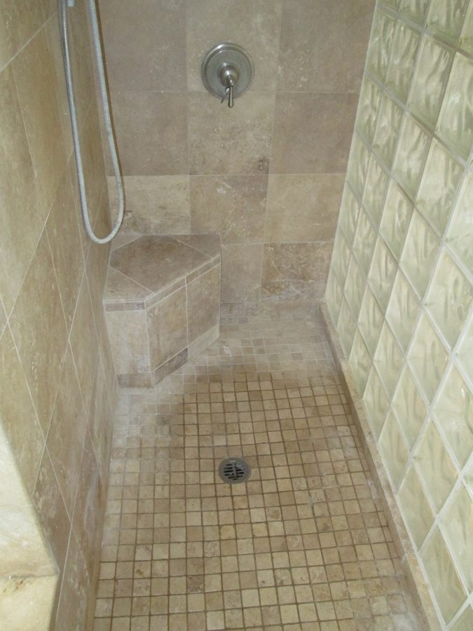 Before: Travertine shower in Chandler | Showers & Vanities | Interior Gallery | Baker's Travertine Power Clean