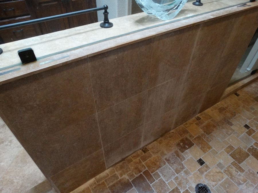 Before: Travertine shower in Fountain Hills | Showers & Vanities | Interior Gallery | Baker's Travertine Power Clean
