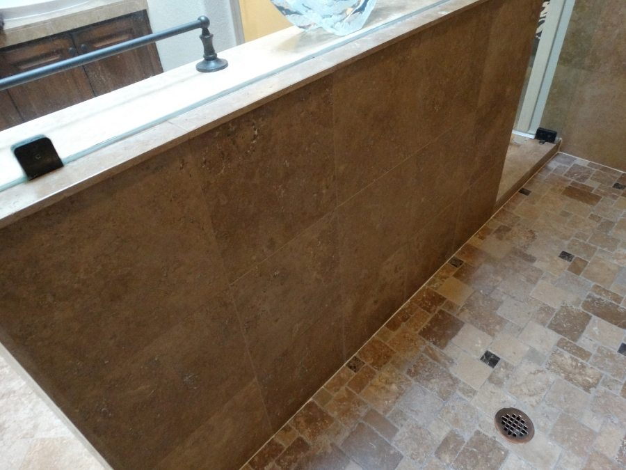 After: Travertine shower in Fountain Hills | Showers & Vanities | Interior Gallery | Baker's Travertine Power Clean