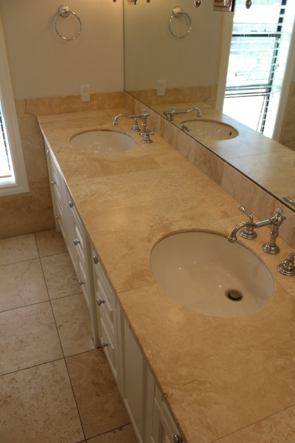 Before: Travertine vanity Scottsdale | Showers & Vanities | Interior Gallery | Baker's Travertine Power Clean