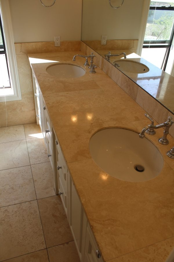 After: Travertine vanity polish in Scottsdale | Showers & Vanities | Interior Gallery | Baker's Travertine Power Clean