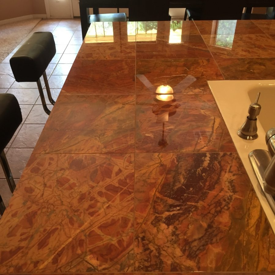 Polished marble counter in Phoenix | Showers & Vanities | Interior Gallery | Baker's Travertine Power Clean