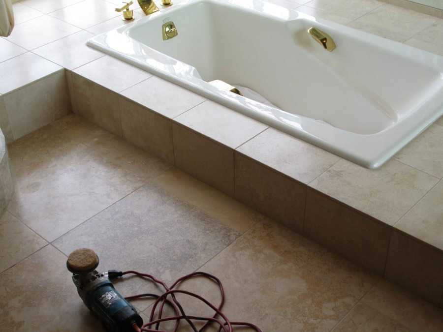 Before: Tub deck in Paradise Valley | Showers & Vanities | Interior Gallery | Baker's Travertine Power Clean