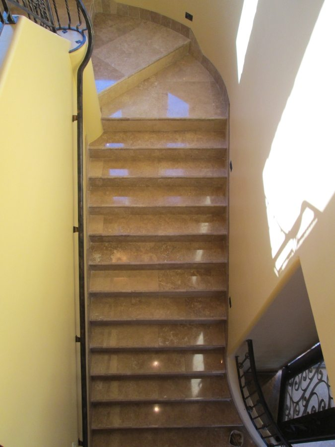 Travertine Stairs Cleaned & Polished | Staircases & Steps | Interior Photo Galleries | Baker's Travertine Power Clean