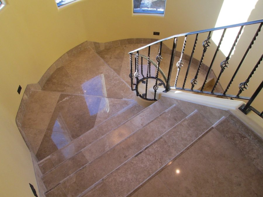 After: Travertine staircase polished | Staircases & Steps | Interior Photo Galleries | Baker's Travertine Power Clean