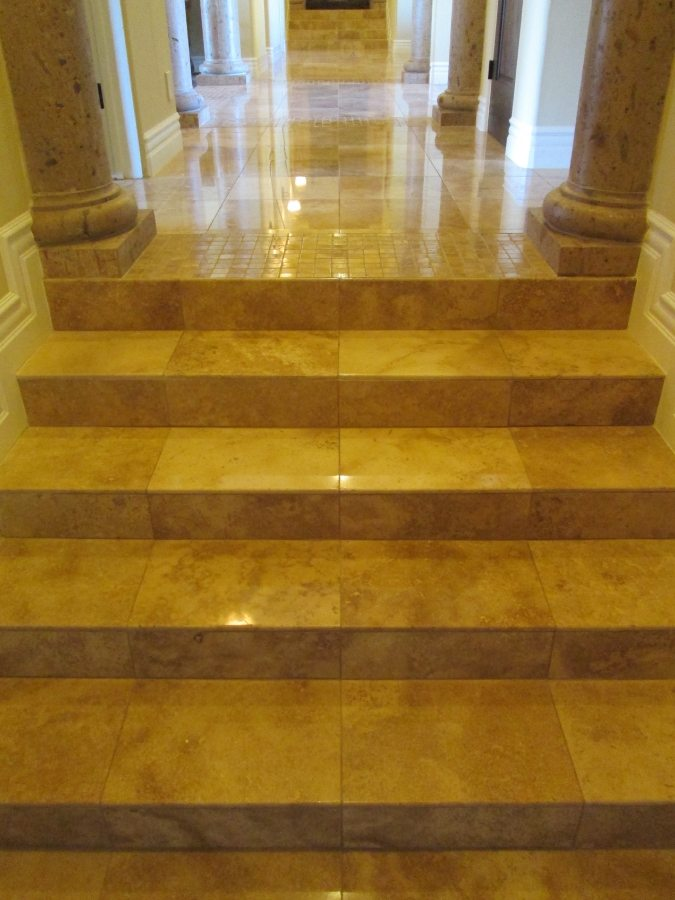 Polished Travertine steps and hallway | Staircases & Steps | Interior Photo Galleries | Baker's Travertine Power Clean