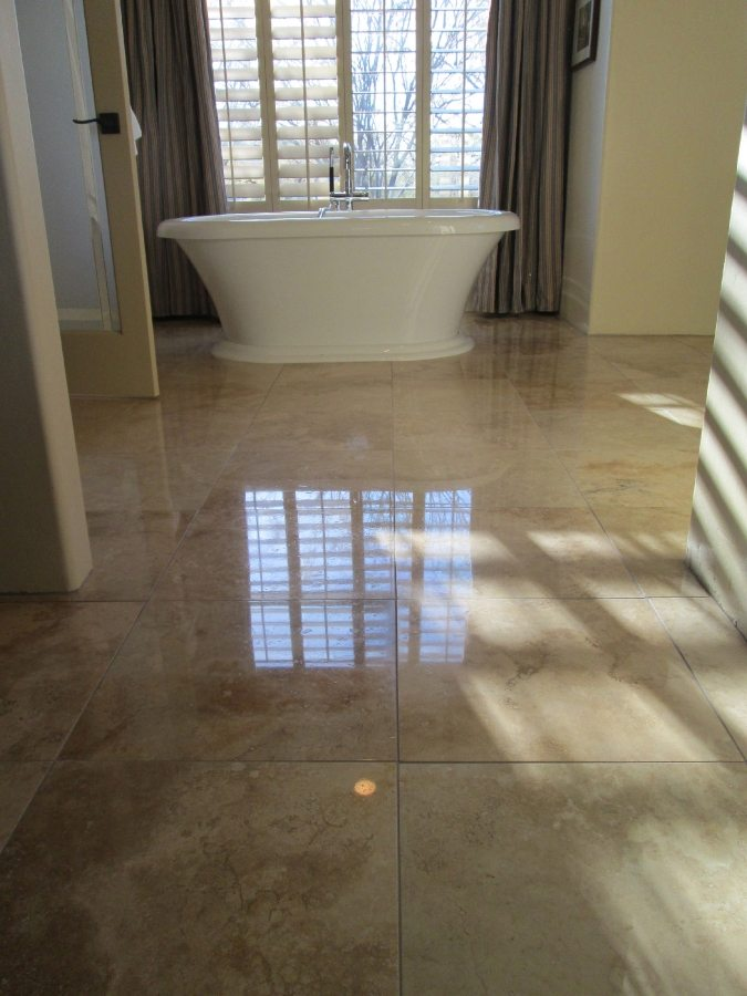 After: Travertine High Polish in Chandler