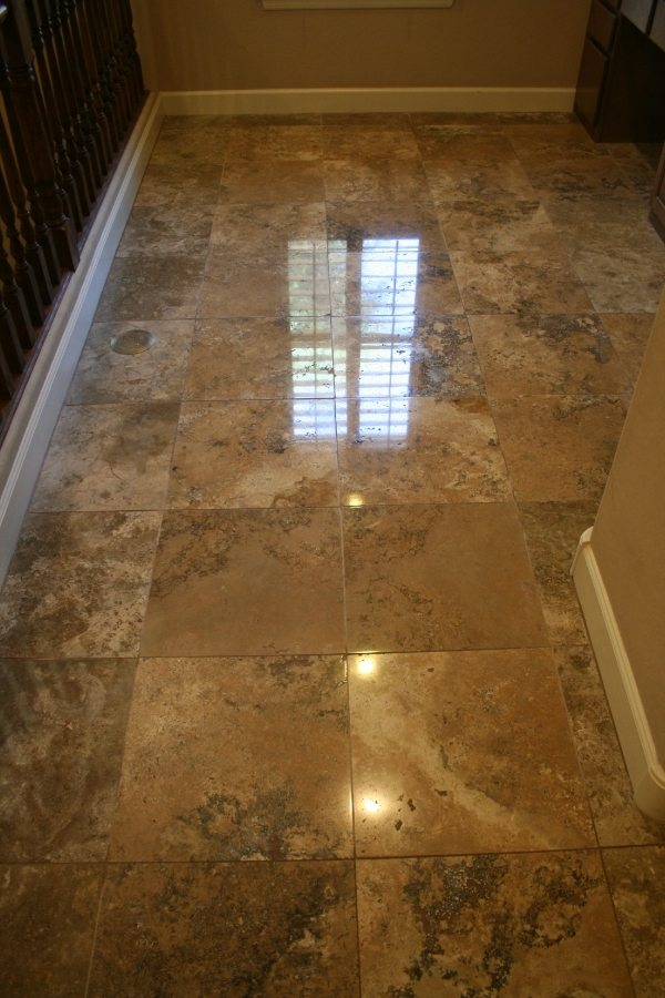 After: Travertine High Polish Ahwatukee Foothills