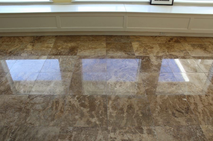 After: Travertine High Polish Phoenix Biltmore Home