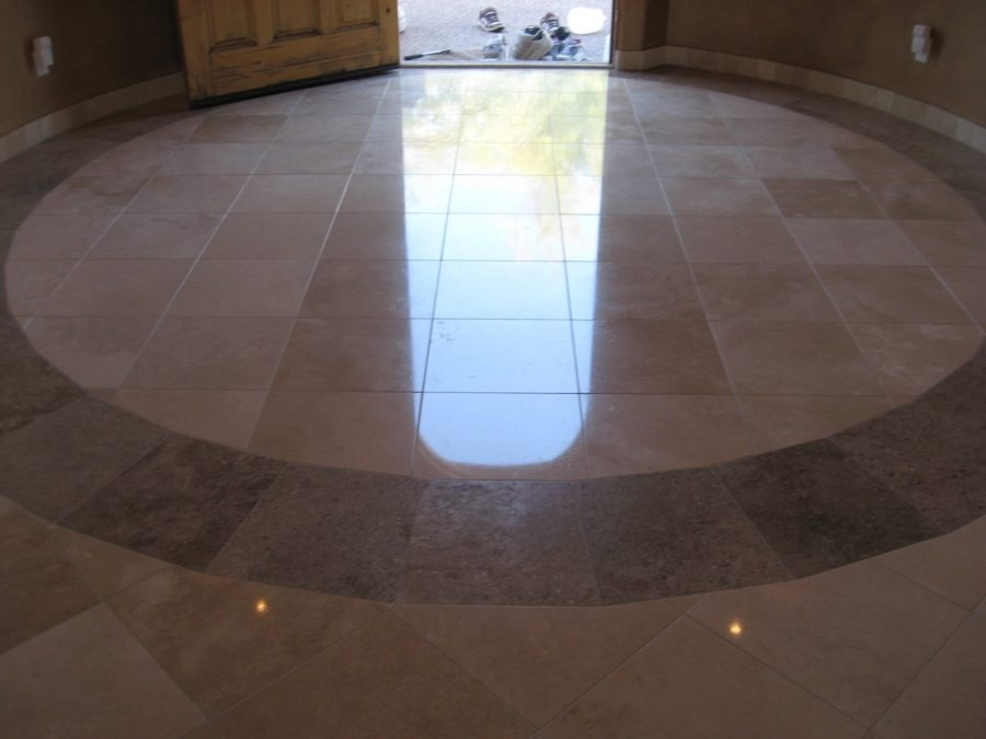 After: Travertine High Polish in North Scottsdale