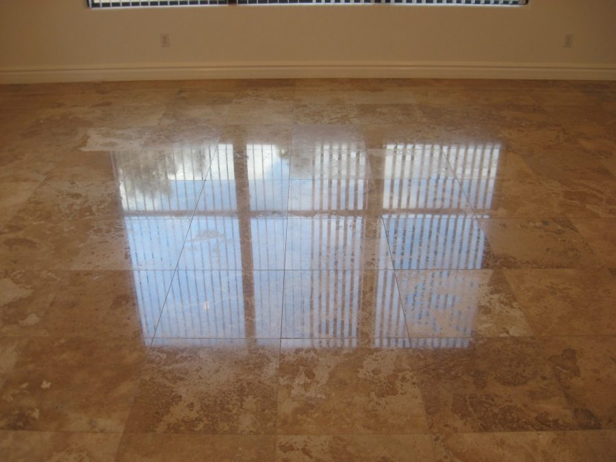 After: Travertine High Polish in Scottsdale