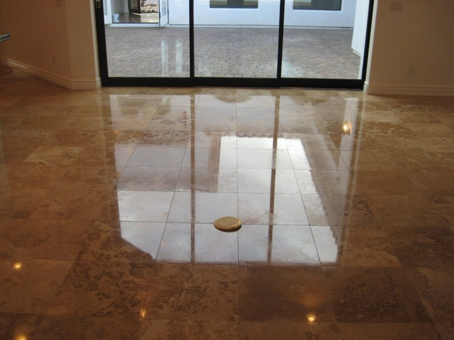 After: Travertine High Polish in Gold Canyon Home