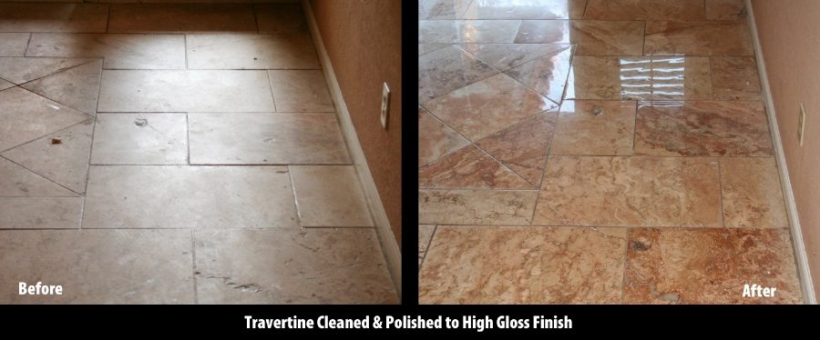 Amazing Before/After Travertine High Gloss in Tempe