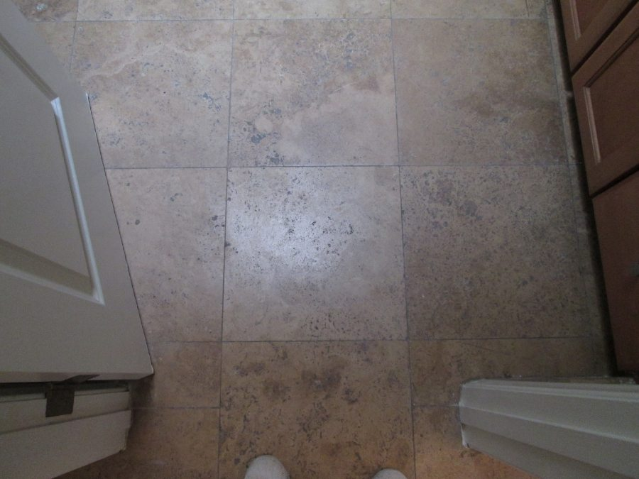 Before: Travertine in Tempe | Light Polish | Travertine | Baker's Travertine Power Clean