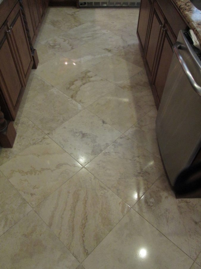 After: Travertine Light Polish in Scottsdale | Light Polish | Travertine | Baker's Travertine Power Clean