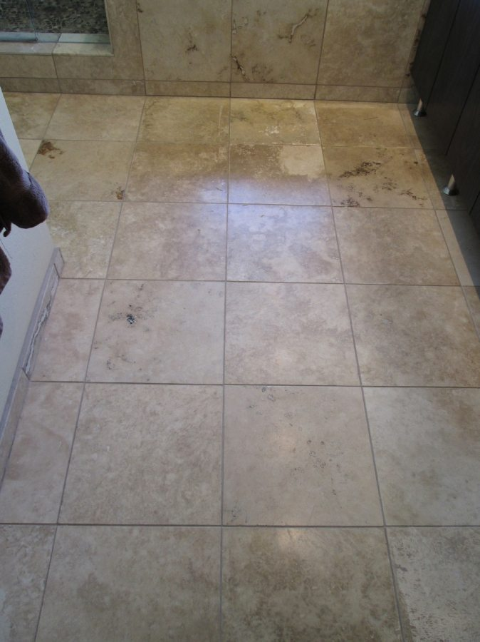 Before: Travertine in Gilbert | Light Polish | Travertine | Baker's Travertine Power Clean