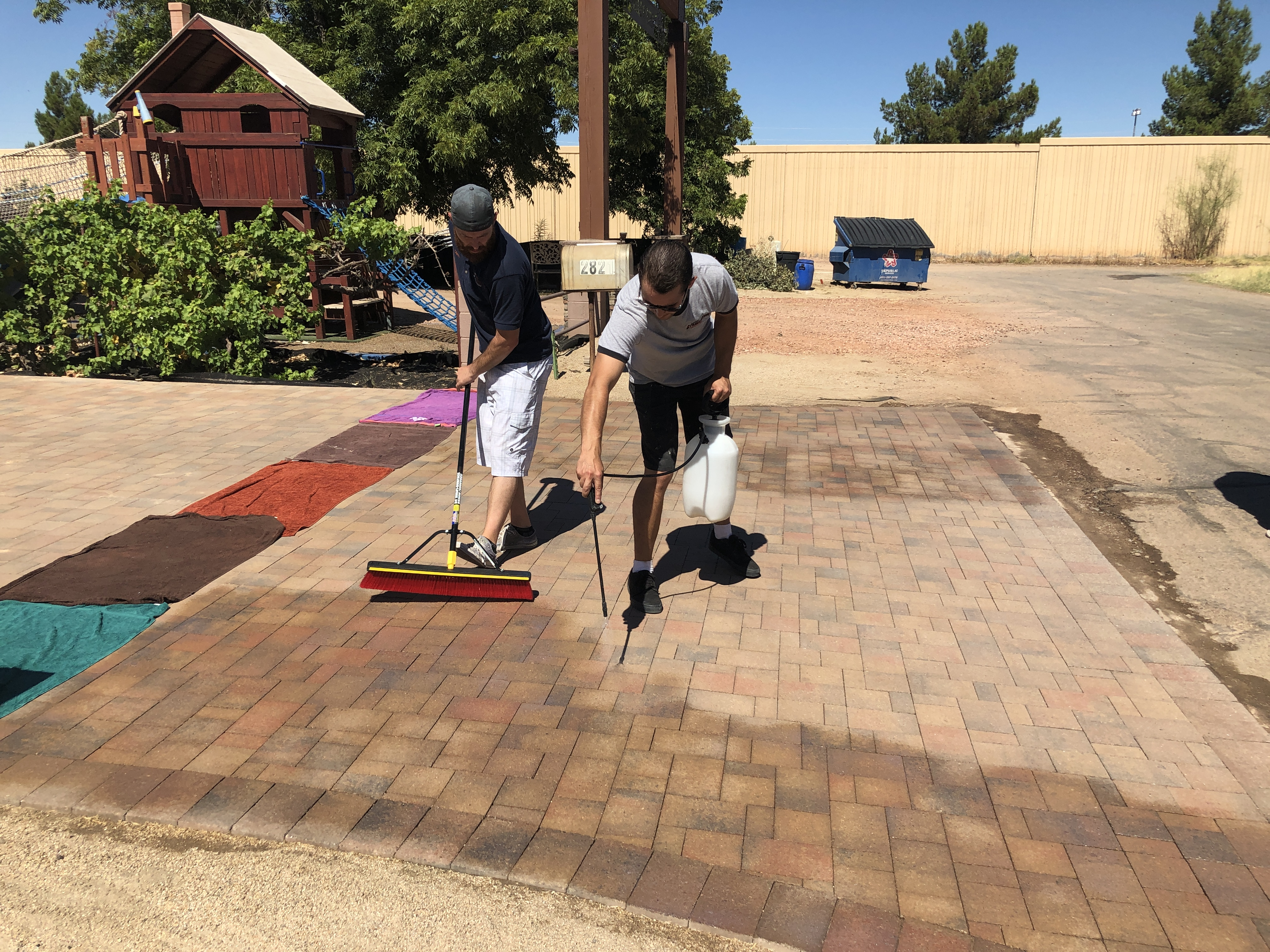 Application of Paver Protector Pro to concrete pavers in Phoenix area